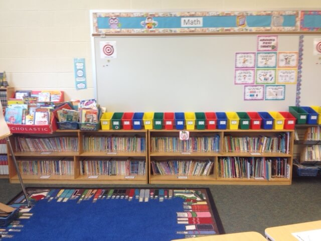 You can organize your classroom library into baskets or onto bookshelves.