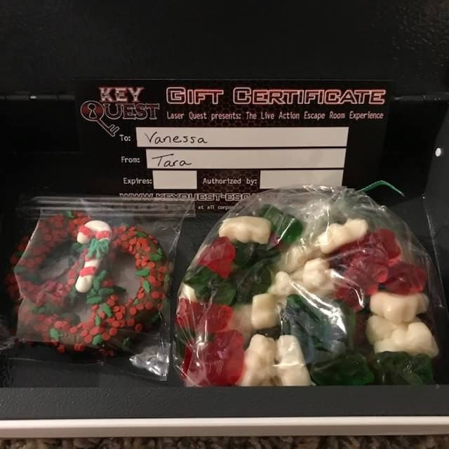 escape room ticket and holiday candy gifts