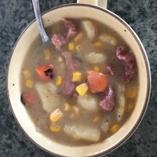 ham and potato chowder, one of the snow day make ahead meals