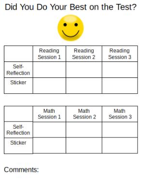 state testing sticker chart