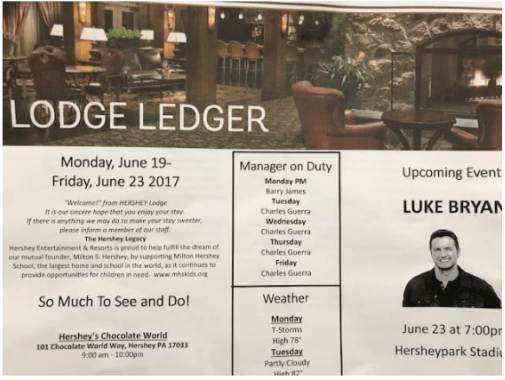 Lodge Ledger at the Hershey Lodge