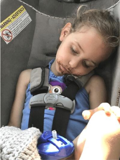 sleeping on the way home from Hershey's Chocolate World