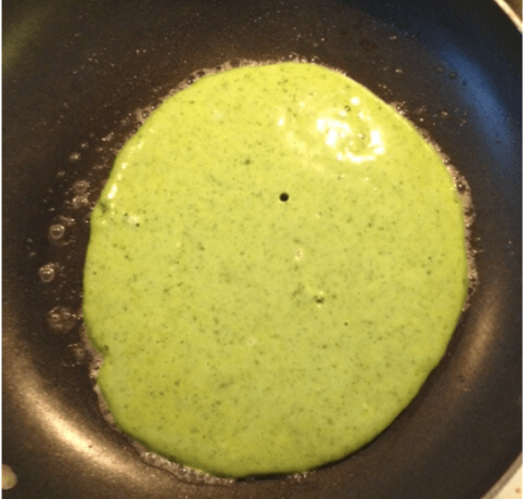 cooking St. Patrick's Day pancakes