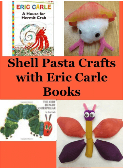 Are you looking for some fun crafts to do with your children? Try these shell pasta crafts based on Eric Carle books.