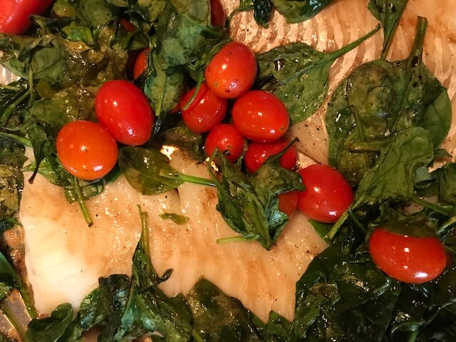 cod with tomatoes and spinach, one of the quick and easy school night meals