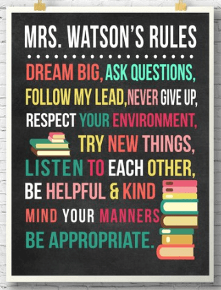 classroom rules poster, personalized teacher supplies