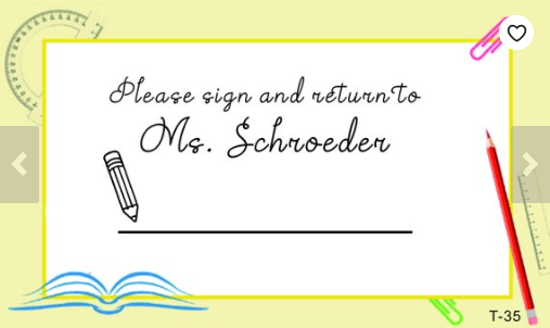 sign and return stamp, personalized teacher supplies