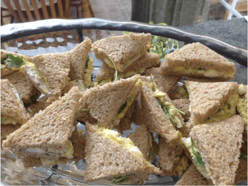 egg salad tea sandwiches for a holiday tea party
