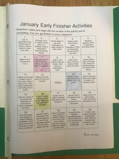 early finisher activities bingo