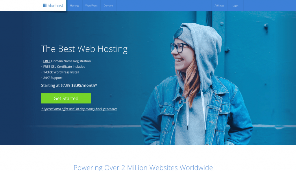 Use Bluehost to set up your self-hosted WordPress teacher blog.