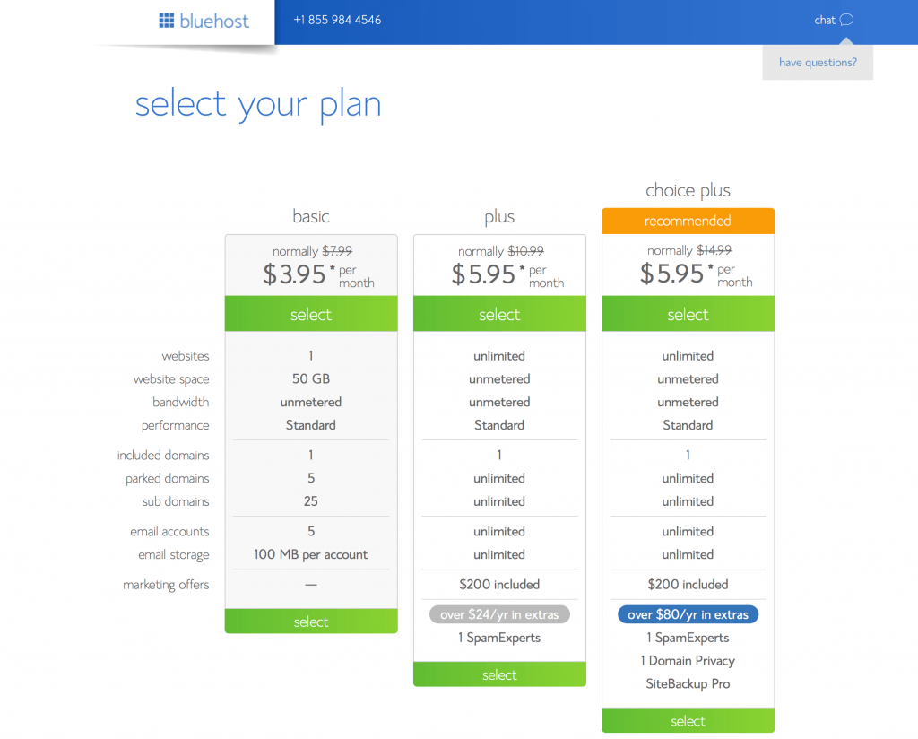 Select a plan for your self-hosted WordPress teacher blog.