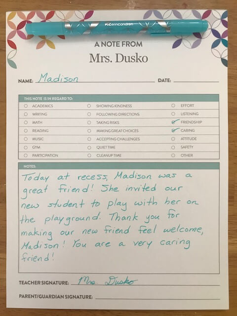 Keep parents informed with this Note from the Teacher Notepad.