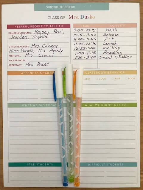 Find out exactly how the day went when you weren't there with this Substitute Notepad.